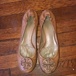 Tory Burch reva flats brown leather shoes sz 8